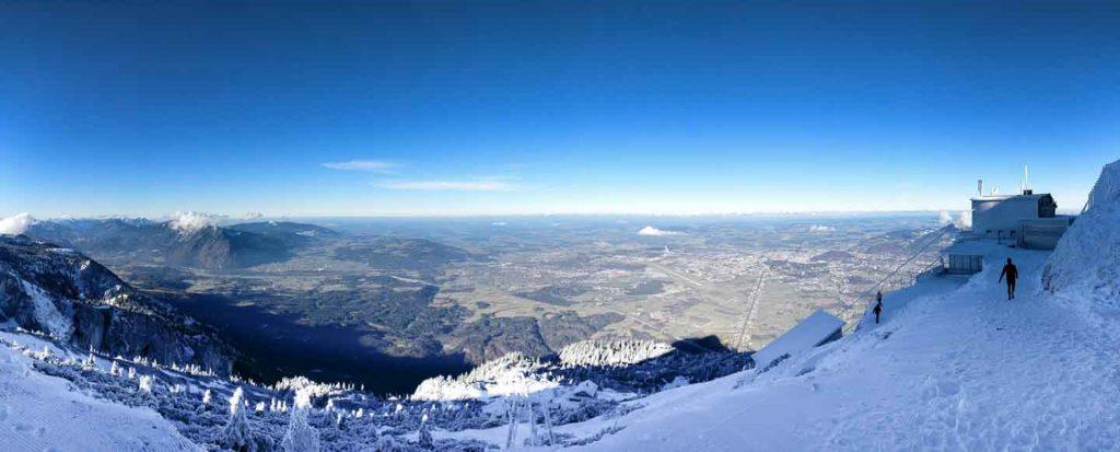 Untersberg mountain station in winter